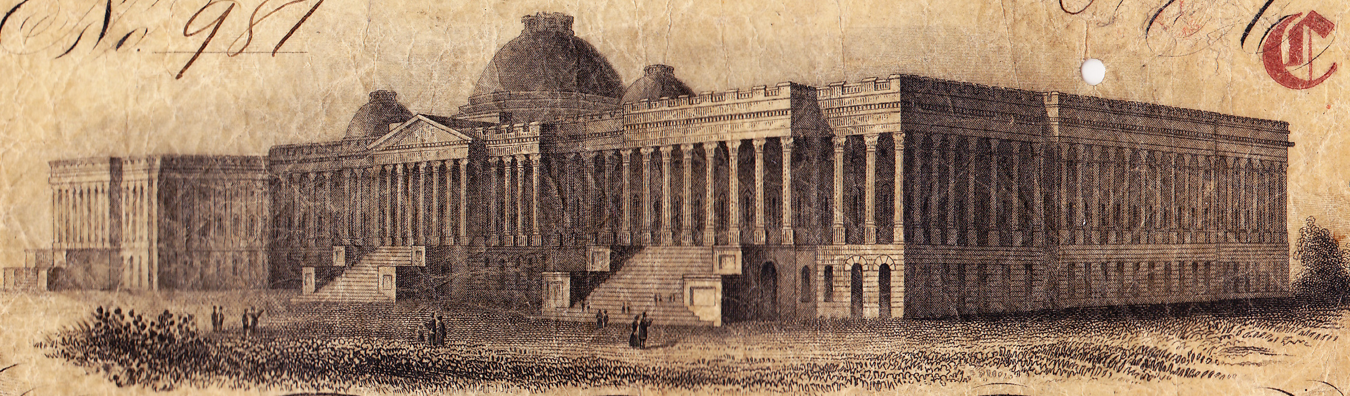 An early depiction of the Capitol in Washington.