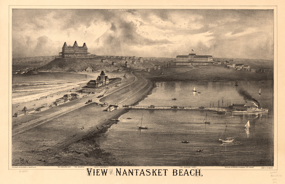 1879 lithograph showing Nantasket Beach on Massachusetts Bay. (Source: Library of Congress.)
