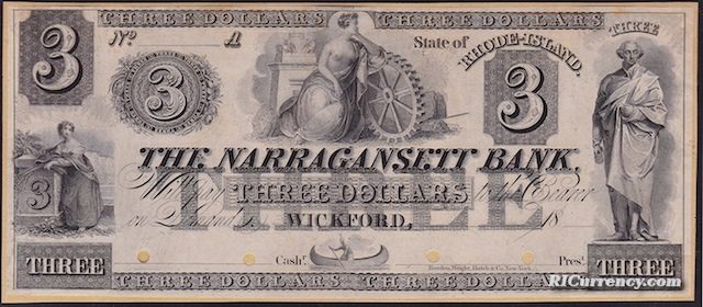 Narragansett Bank $3 Proof