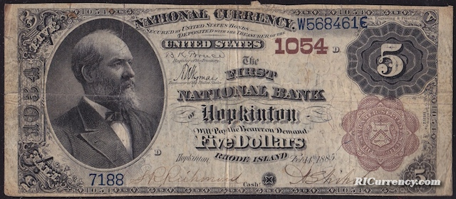 First National Bank of Hopkinton $5