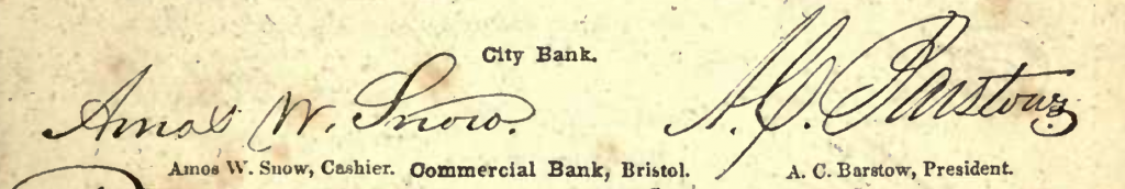 The above image, a detail from the Autographical Counterfeit Detector, shows how talented swindlers of the day were at forging bank offices' signatures.