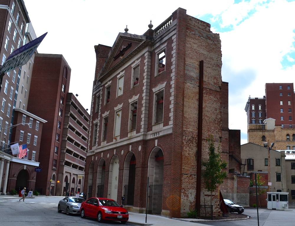 In 2005, the Providence National Bank building on Westminster Street was torn down to make way for condominiums. The back façade is all that remains of this building.
