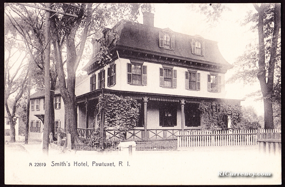 The bank was based in this building at 40 Post Road in Pawtuxet. At the time of this postcard, the building was used as an inn.
