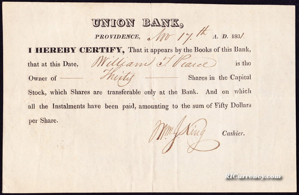 Union Bank stock certificate for William J. Pearce