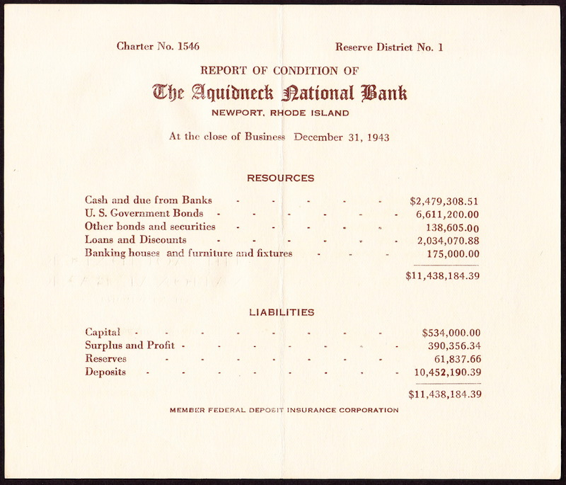 Report Of Condition Of The Aquidneck National Bank, December 31, 1943.