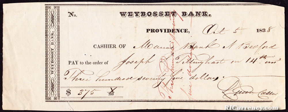 Bank check from 1838.