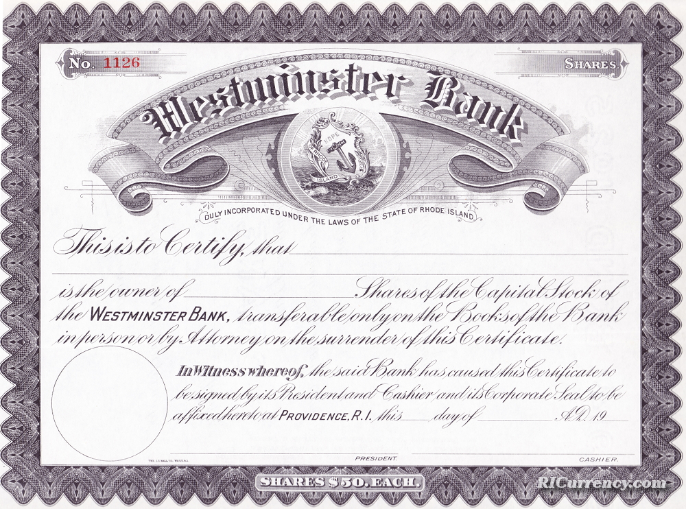 Blank stock certificate from the early 1900s for this state bank.