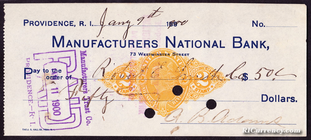 Manufacturers National Bank check from January 9, 1900.