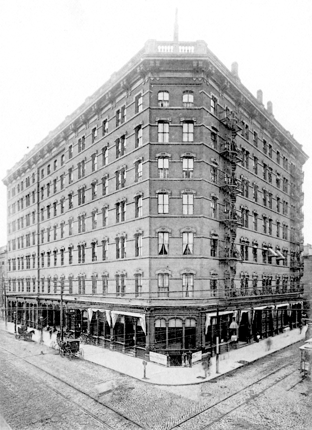 Another image of the Narragansett Hotel, with the bank's ground floor corner office.