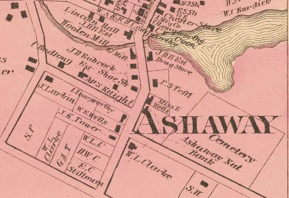 A detail map showing the location of the Ashaway National Bank. From D.G. Beers Atlas of Rhode Island