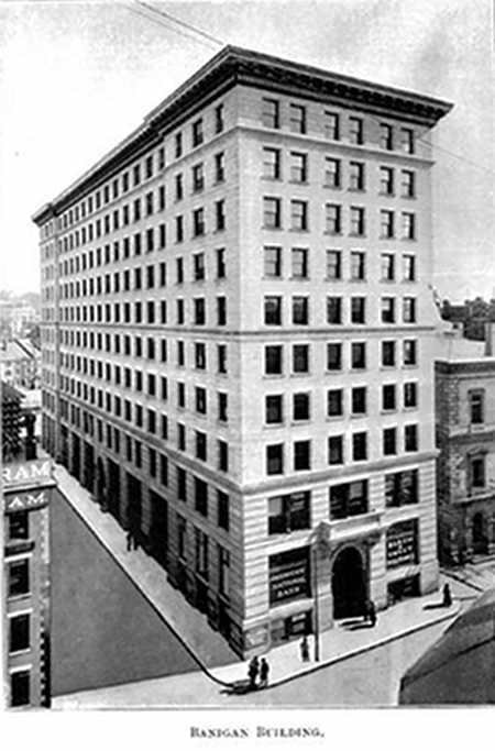 A vintage image showing the Banigan Building with the American National Bank's office on the ground floor at left.
