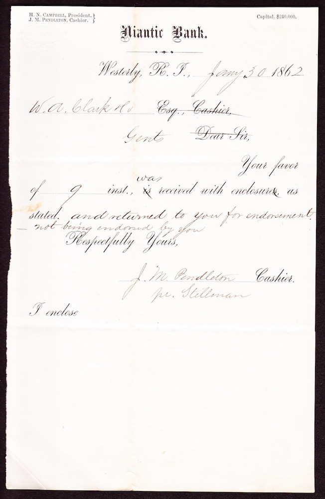 A letter from the bank, dated January 30, 1862 and signed by J.M. Pendelton, cashier.