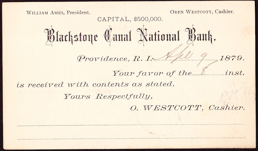 A card sent to the State Bank of Baldwinsville, NY, on April 9, 1879 from Oren Westcott, cashier.
