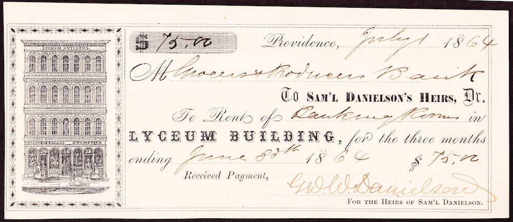 According to this receipt, Grocers & Producers paid $25 a month in rent for their banking rooms in the Lyceum Building. It was owned by the heirs of Dr. Samuel Danielson.