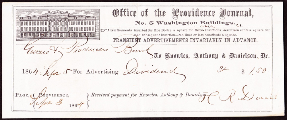 Receipt for advertising in the Providence Journal. Dated September 5, 1864.  They paid $1.50 for three ads listing the bank's dividend.