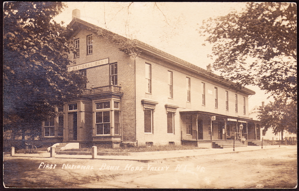 A postcard showing the bank.