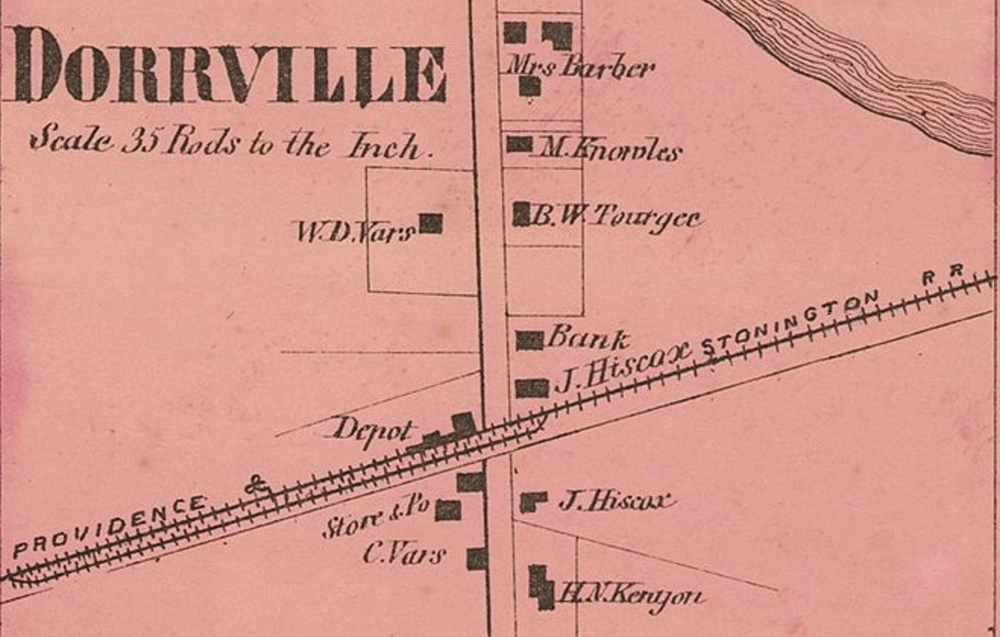 A detail map of Dorrville shows the location of the bank. From D.G. Beers Atlas of Rhode Island