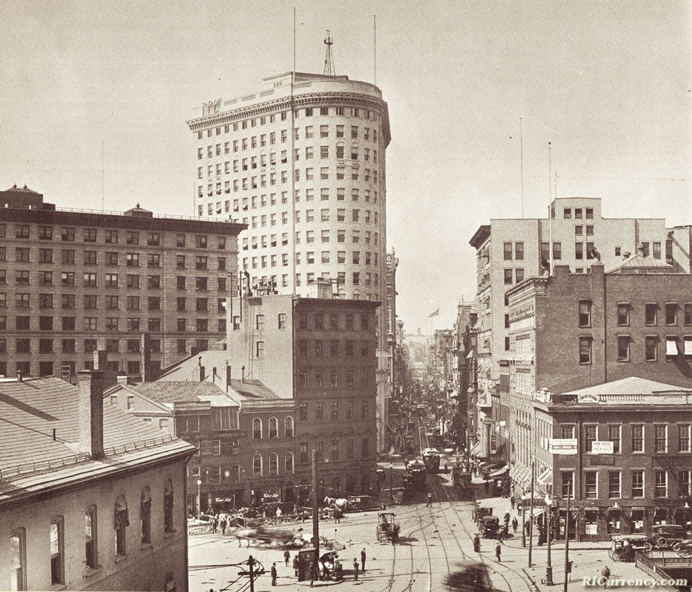 The Merchants Bank with the Turk's Head Building in the background, circa 1915.