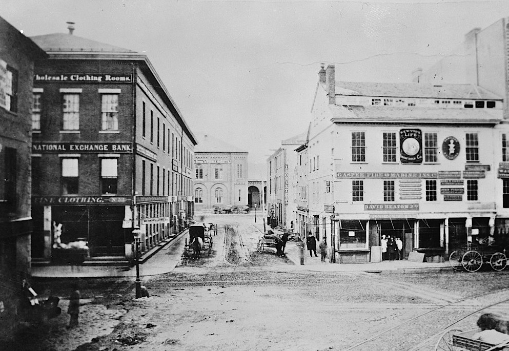 The Exchange Bank, far left, sometime between 1865 and the building's remodeling in 1888.