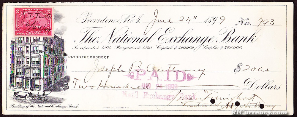 Check from June 4, 1899 featuring a depiction of the bank's building.