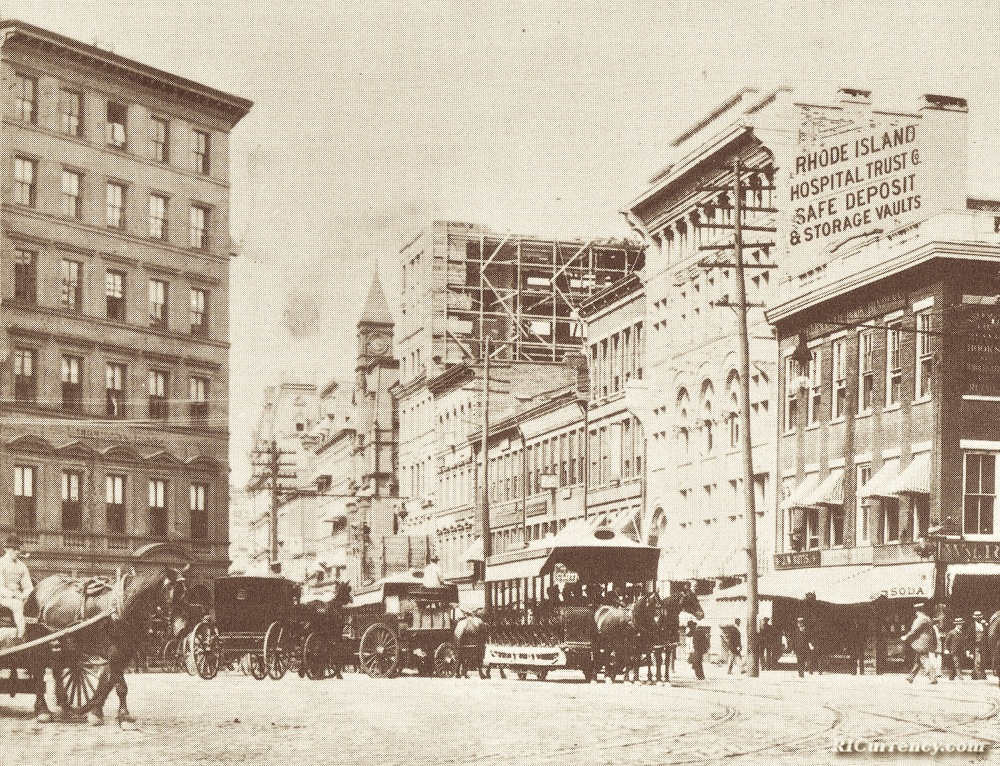 Westminster Street sometime after 1893, showing the old Hospital Trust building across the street from the Merchants Bank.