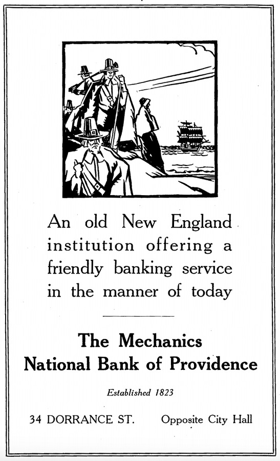 An advertisement for Mechanics from  The Providence House Directory and Family Address Book, 1931-1932.