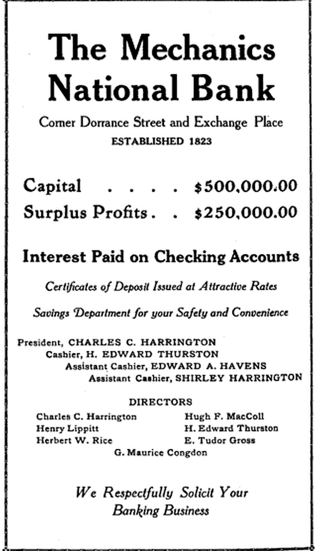A 1922 ad for the bank.