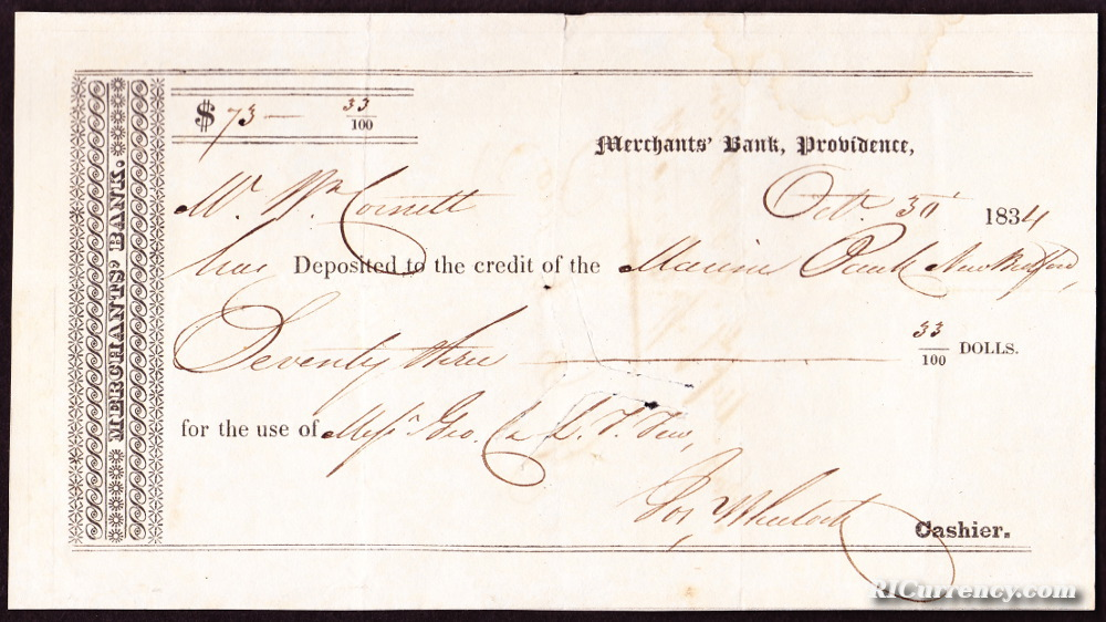 Receipt for monies deposited to the credit of the Marine Bank of New Bedford, Massachusetts. Dated October 30, 1834.