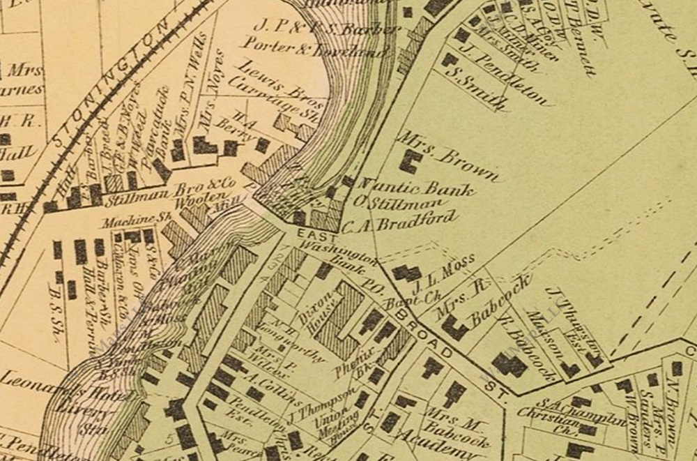 The detail map shows the location of the Niantic Bank at 14 High Street, in downtown Westerly. From D.G. Beers, Atlas of Rhode Island, 1870.