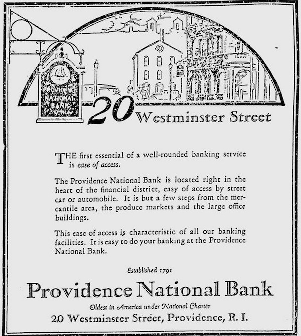 The Providence National Bank was located for a short time at 20 Westminster.