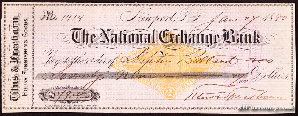 National Exchange Bank check from 1880.