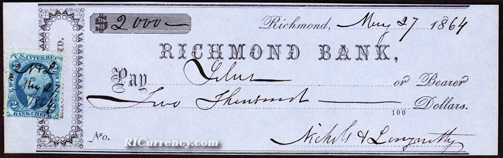 Bank check from 1864, which identifies the location of the bank as Alton.