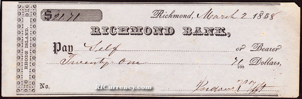 Bank check from 1858.