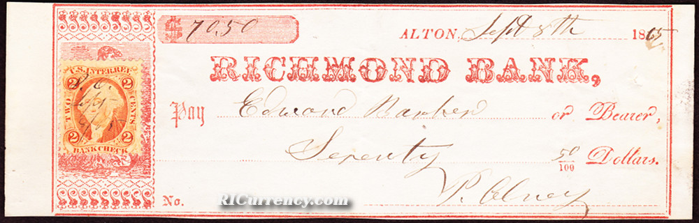 Bank check from 1864, noting the location of the bank as Richmond.
