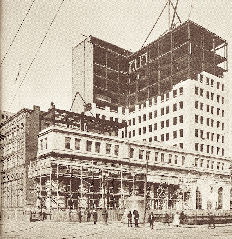 The new Hospital Trust Building at 15 Westminster under construction, circa 1917. It is being built around the bank's old edifice, which is visible at right. Eventually that building was torn down and the southern half of the new building completed.