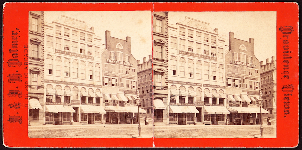 This 19th-century stereoview presents another view of the bank's second-floor office.