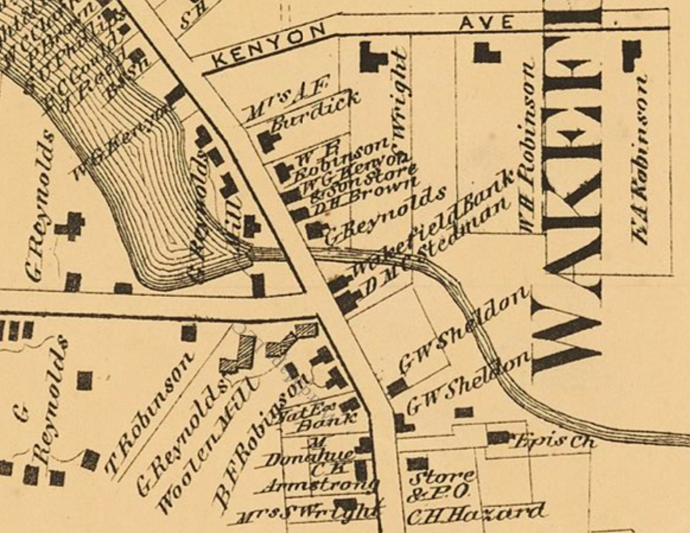 A detail map of Wakefield showing the Wakefield Bank. From D.G. Beers, Atlas of Rhode Island, 1870.
