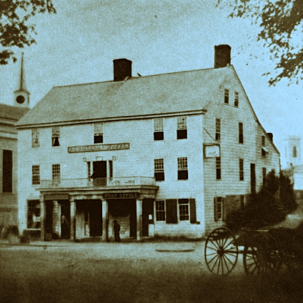 The Washington Bank occupied a room at the left of the old post office in Dixon Square in Westerly from 1800 to 1836.