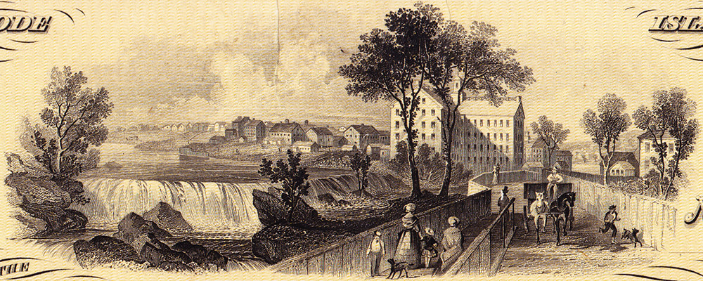 A view of Woonsocket Falls, created specifically for this bank, is used on many of the institution's banknotes.