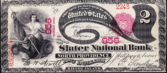 Slater National Bank $2