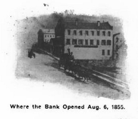 A drawing from an early 20th century newspaper showing the Slater Bank's first home, possibly in the old Dexter Mill building.
