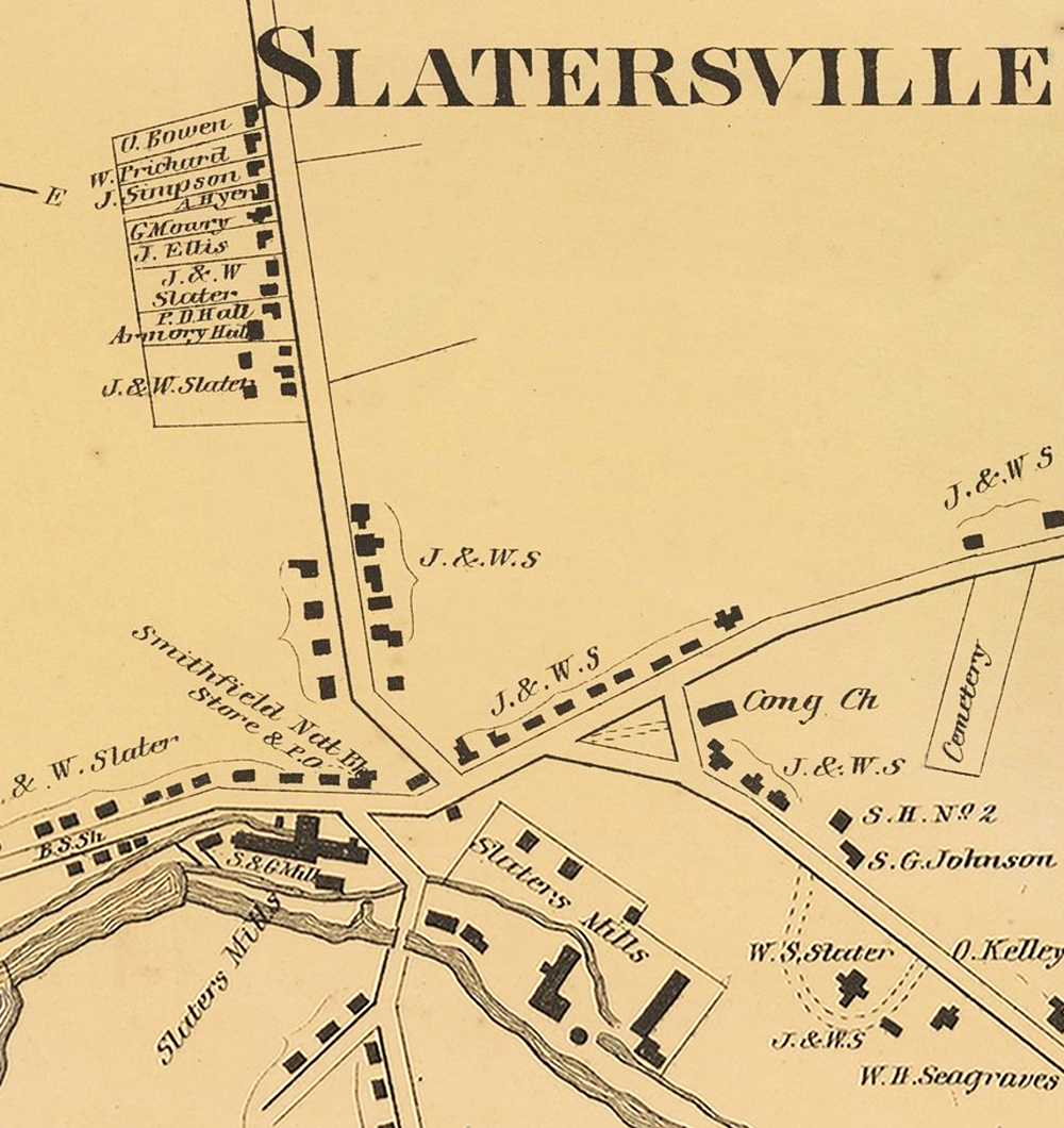 The location of the First National Bank of Smithfield is shown on the bottom left of this detail map of Slatersville.From D.G. Beers' Atlas of Rhode Island