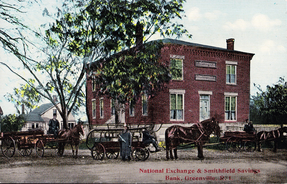 A 19th century postcard of the National Exchange Bank of Greenville (formerly the Smithfield Bank). This structure was built next door to the Greenville Tavern.