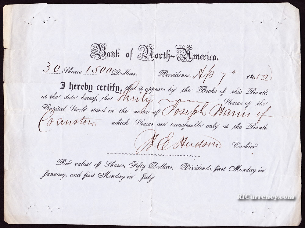 Stock certificate for 30 shares, valued at a total of $1,500, April 7, 1852.