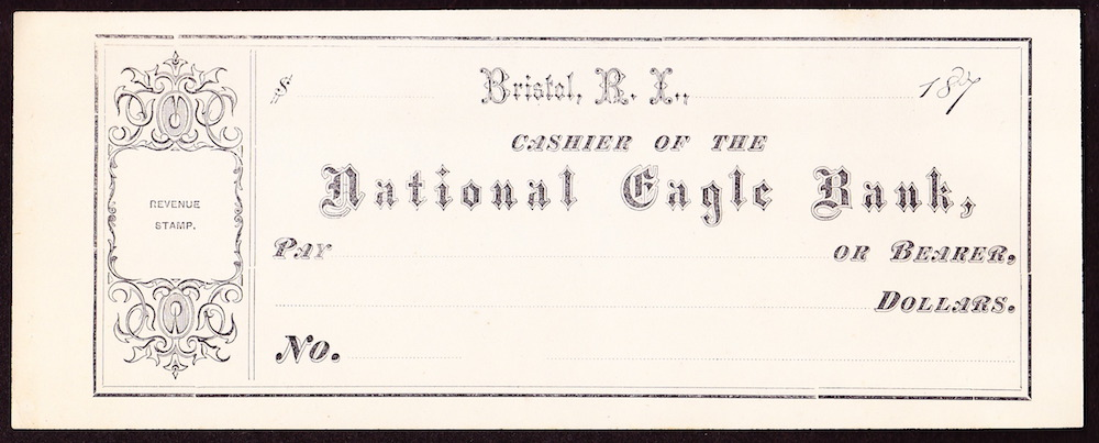 National Eagle Bank check from the 1870s.