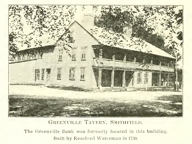 A vintage photo of the first home of the Smithfield Union Bank in the Greenville Tavern.