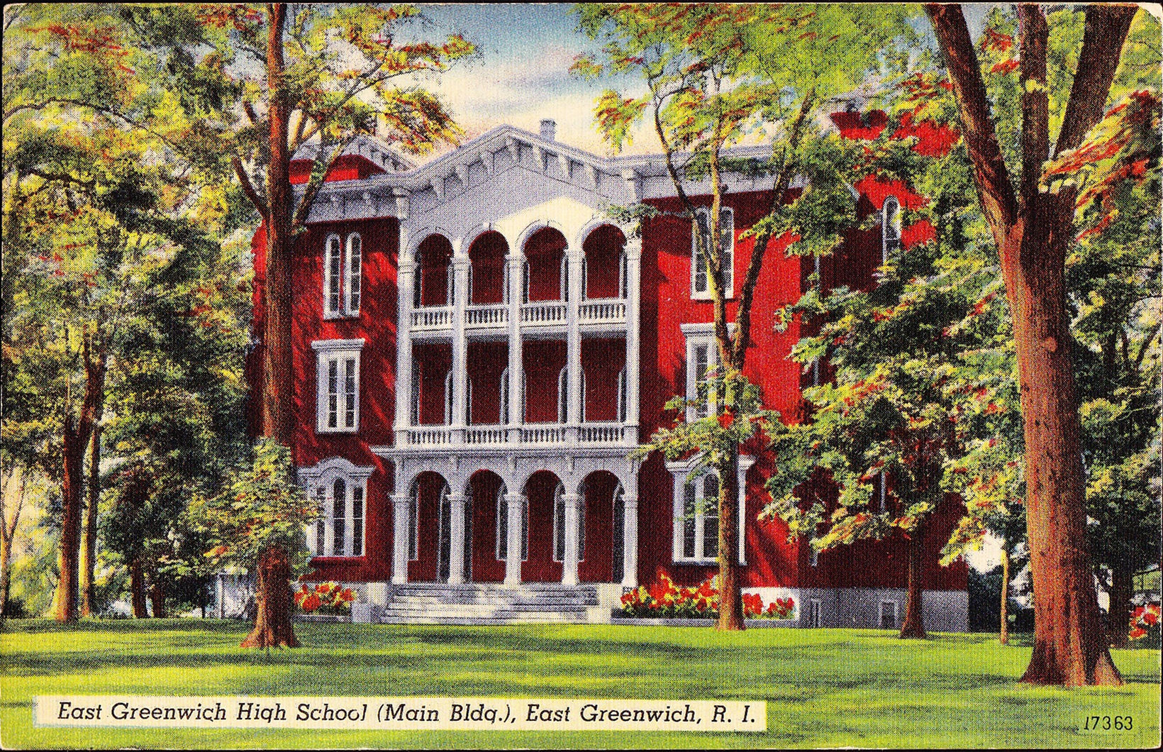 A circa 1955 postcard depicts the Providence Conference Seminary as its last incarnation as the East Greenwich High School.
