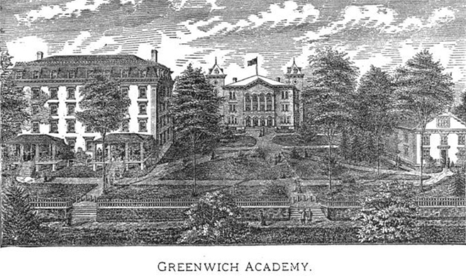 An 1877 engraving of the school, then known as the Greenwich Academy,