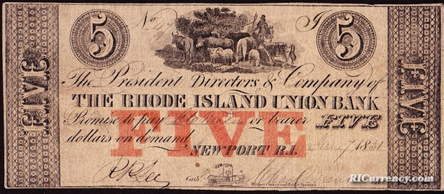 Rhode Island Union Bank $5