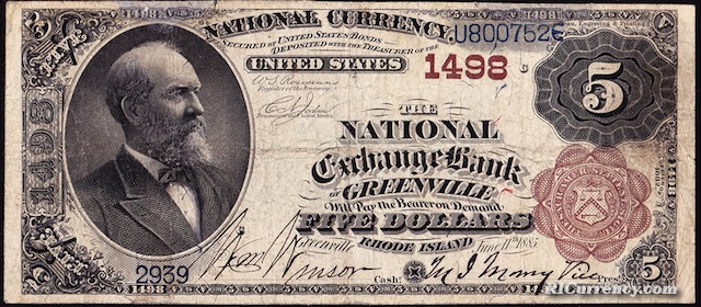 National Exchange Bank of Greenville $5